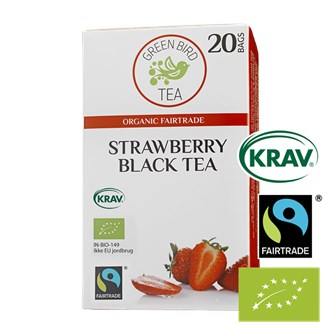 Green Bird  Strawberry Black Tea Økologisk Fairtrade Krav